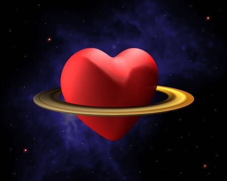 Heart with a saturn ring floating in space