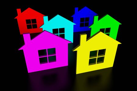 Silhouettes of colorful houses on black background Stock Photo