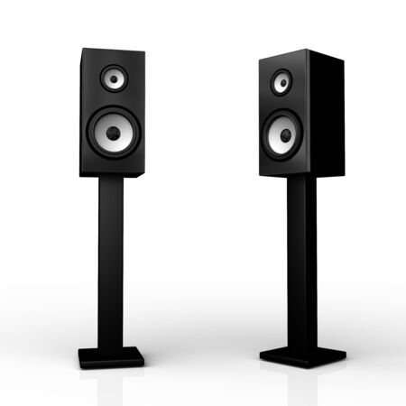 Two black speaker boxes on stand on white background