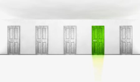 Five doors in an empty room, one is green photo