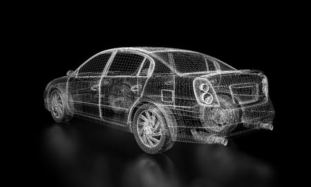 Car in wire frame mode on black background with reflecting floor Stock Photo