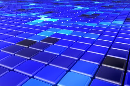 Abstract background made of a net of colorful blue cubes