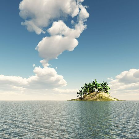 3D illustration of an island in the sea with palm trees. Cloudy sky in the background
