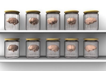 Brains in a glass pots put on the shelves