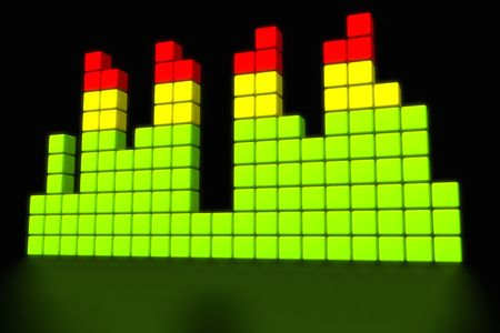 Illustration of a VU-meter representation with cubes on black background
