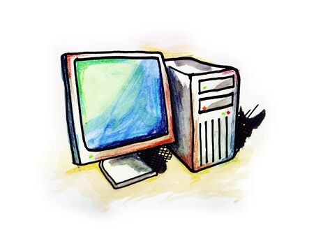 Hand drawn illustration of a desktop computer on white background Stock Photo