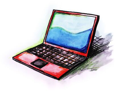 Hand drawn illustration of a laptop computer on white background