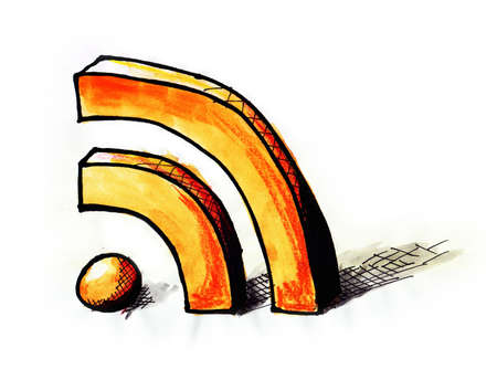 Hand drawn and painted illustration of a RSS symbol