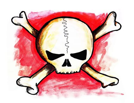 Drawingillustration of a crossbones skull, with some red background Stock Photo