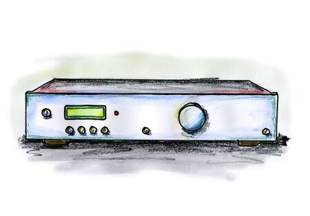 Drawing  illustration of an Hi-Fi amplifier on white background Stock Photo