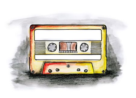 Drawing  illustration of a cassette tape with blank labels on white background Stock Photo