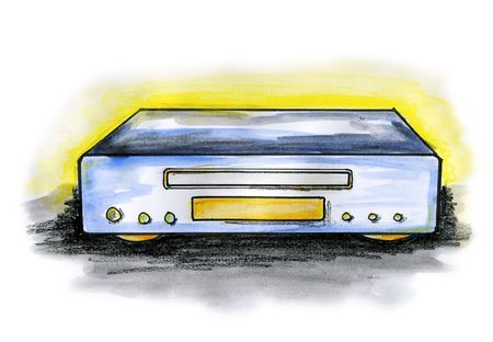 Drawing  illustration of a CD  DVD player on white background