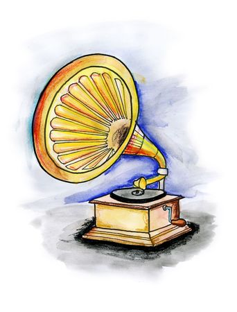 Drawing  illustration of an old gramophone on white background Stock Photo