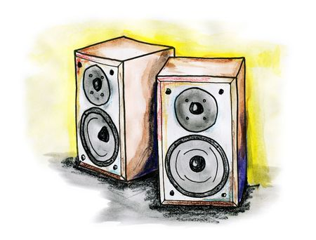 hifi: Drawing  illustration of a Hi-Fi stereo speakers on white background Stock Photo