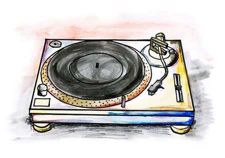 Drawing  illustration of a Hi-Fi turntable on white background Stock Photo