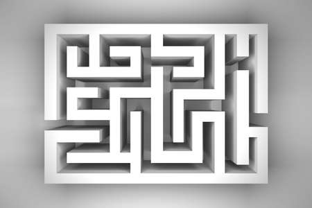 Empty white maze on light gray background