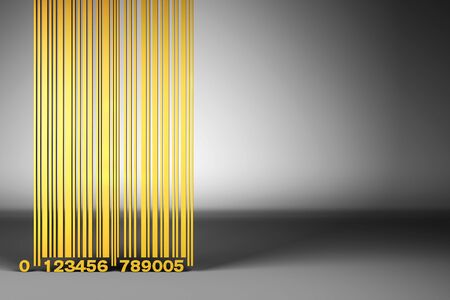 Tall golden bar code on a gray background