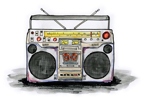 Drawing  illustration of boombox on white background Stock Photo