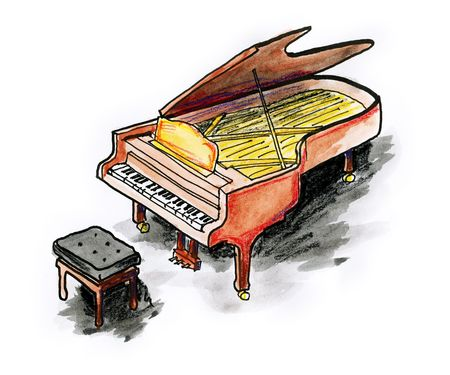 Drawing  illustration of a piano on white background