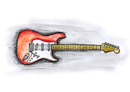 Drawing  illustration of an electric guitar on white background Stock Photo