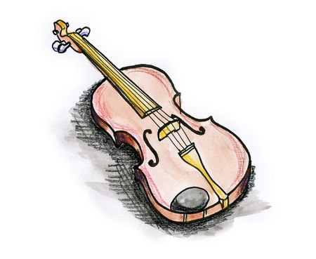 Drawing  illustration of a violin on white background