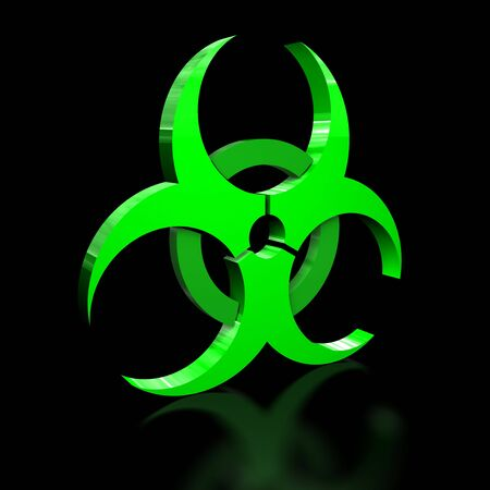 biohazard: 3D illustration of a bio hazard warning sign on black background