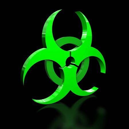 bio hazard: 3D illustration of a bio hazard warning sign on black background