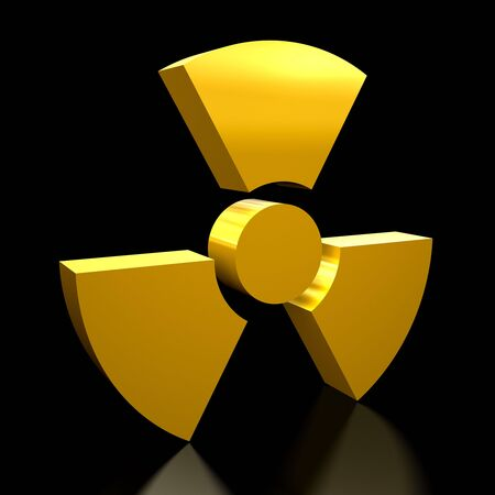 3D illustration of a radioactivity warning sign on black background