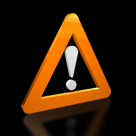 3D illustration of a warning sign on black background Stock Photo