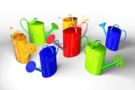 Seven colorful watering cans on a white background