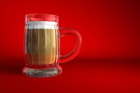 Illustration of a glass of beer on red background