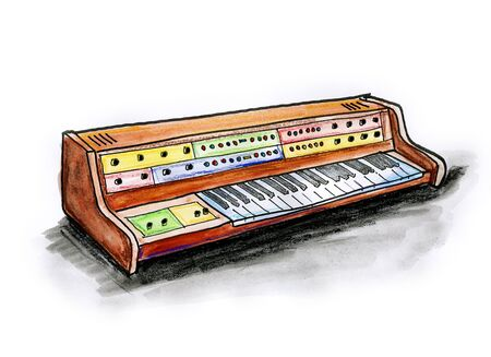 Hand drawn illustration of an analogue synthesizer on white background