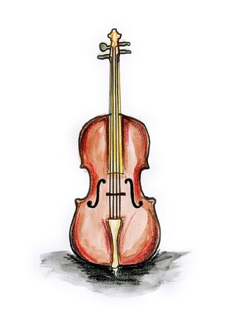 Hand drawn illustration of cello on white background