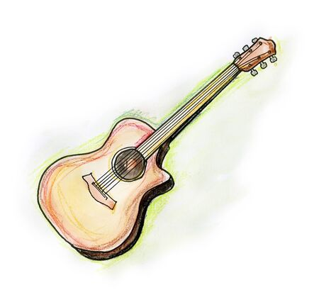 Hand drawn illustration of a classical guitar on white background