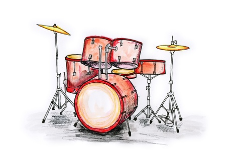Hand drawn illustration of a drum set on white background