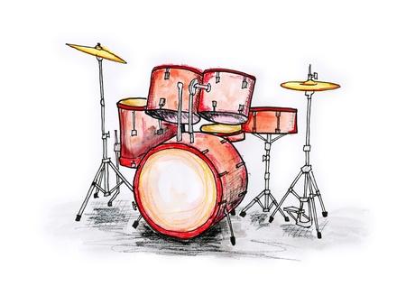 tambor: Mano dibuja ilustraci�n de un tambor que se establezca sobre fondo blanco