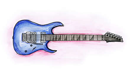 Hand drawn illustration of an electric guitar on white background Stock Photo