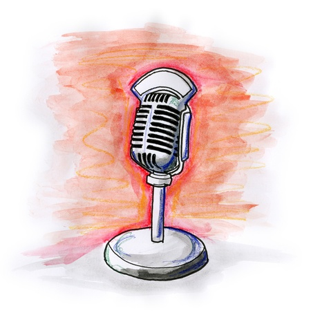 Hand drawn illustration of a microphone on white background