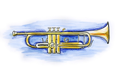 Hand drawn illustration of a trumpet on white background