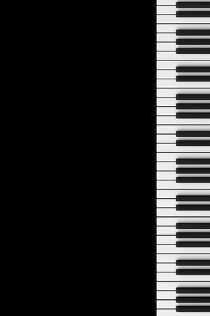 Piano keyboard on a black reflective background. Plenty of space to add your graphics or text