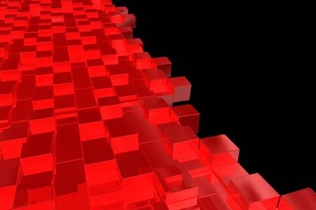 Abstract background with rendered red cubes