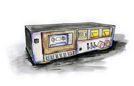 Hand drawn illustration of a cassette deck on white background