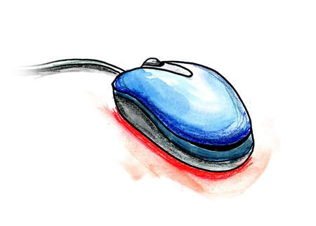 Hand drawn illustration of a computer mouse on white background Stock Photo