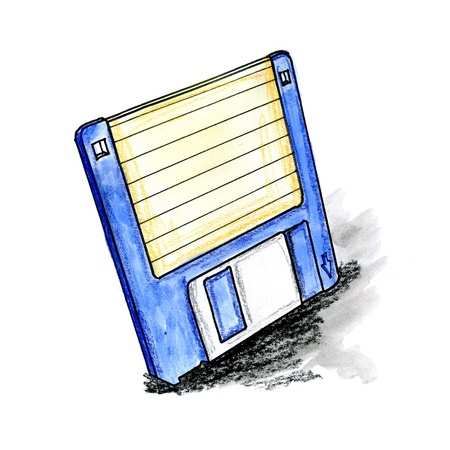 Hand drawn illustration of a floppy disk on white background
