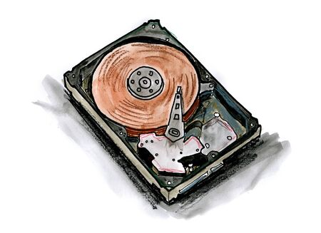 Hand drawn illustration of a hard drive on white background