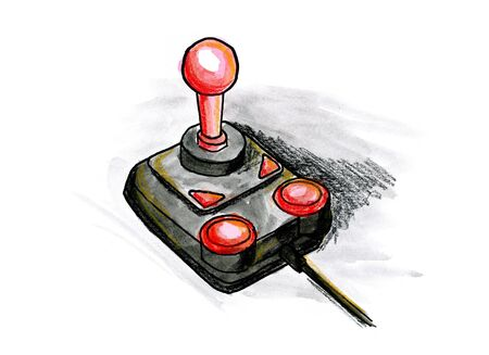 Hand drawn illustration of a joystick on white background