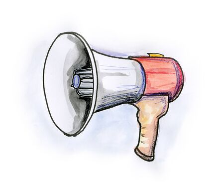 Hand drawn illustration of a megaphone on white background