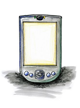 Hand drawn illustration of a PDA on white background