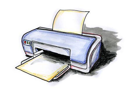 desktop printer: Hand drawn illustration of a desktop printer on white background