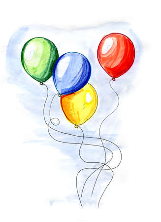 Hand drawn illustration of balloons on white background